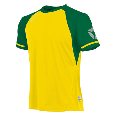 short sleeved Stanno Liga shirt in yellow with contrast green sleeves and collar, Stadium logo on the sleeve.