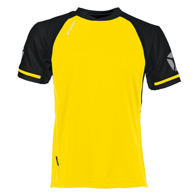 short sleeved Stanno Liga shirt in yellow with contrast black sleeves and collar, Stadium logo on the sleeve.