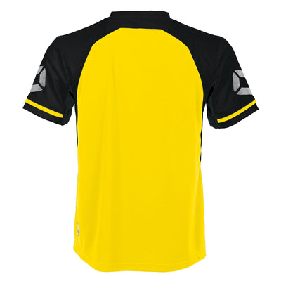 Rear of Stanno Liga short Sleeve shirt in yellow with contrast black sleeves and collar