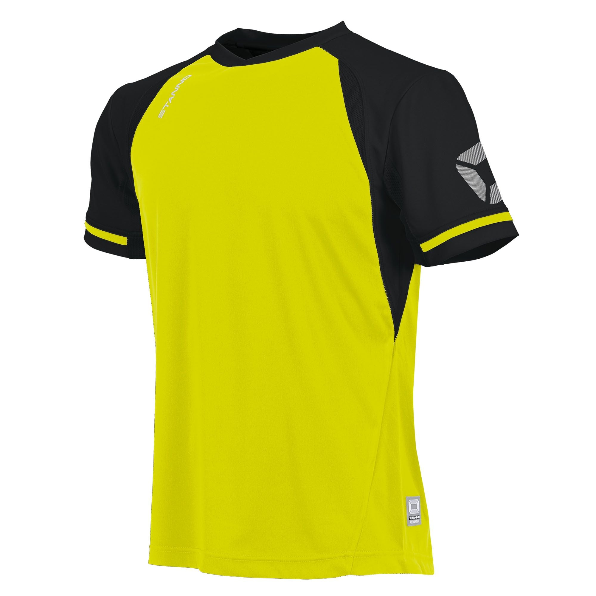short sleeved Stanno Liga shirt in neon yellow with contrast black sleeves and collar, Stadium logo on the sleeve.
