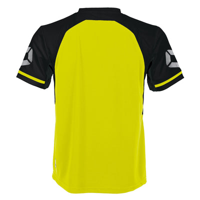 Rear of Stanno Liga short Sleeve shirt in neon yellow with contrast black sleeves and collar