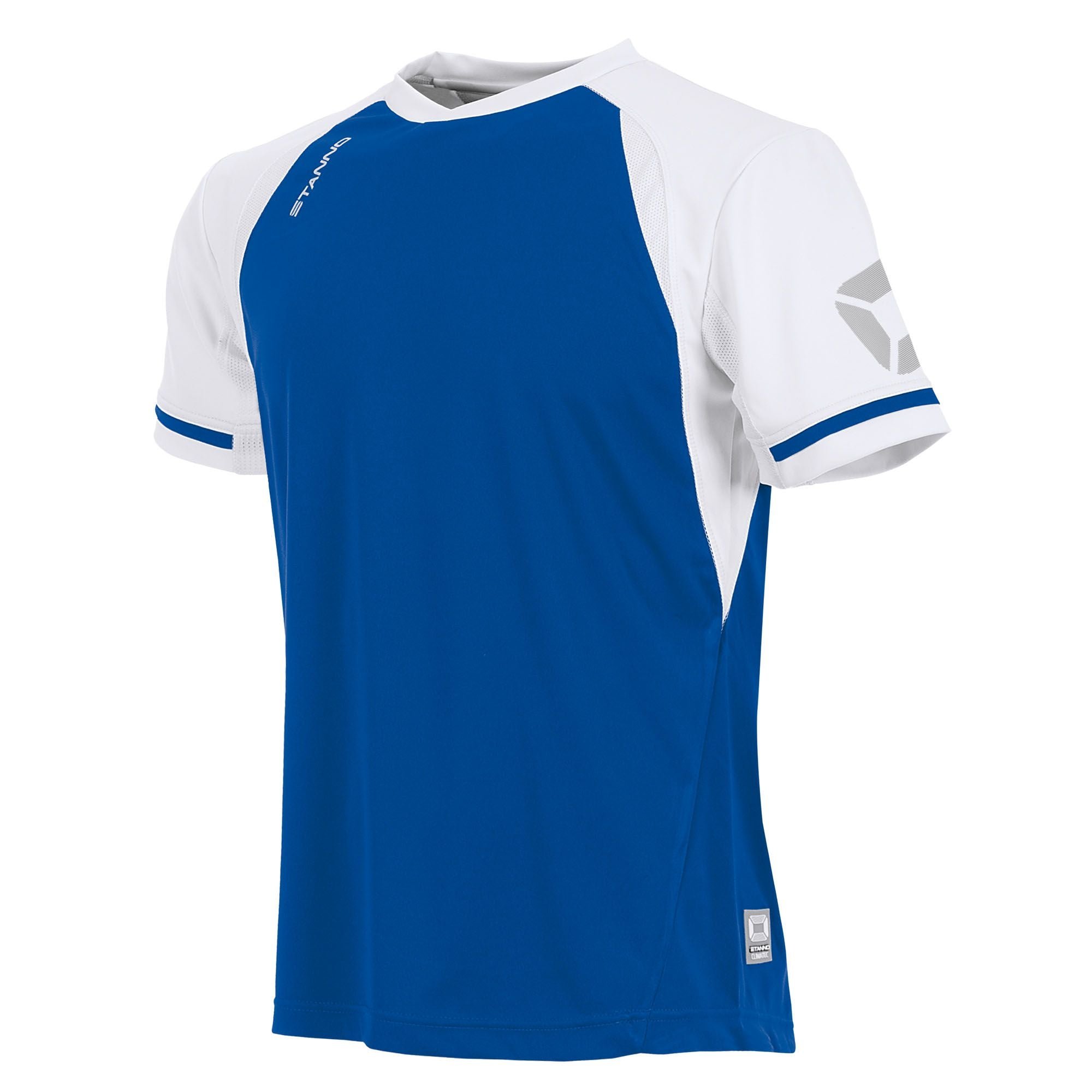 short sleeved Stanno Liga shirt in royal blue with contrast white sleeves and collar, Stadium logo on the sleeve.