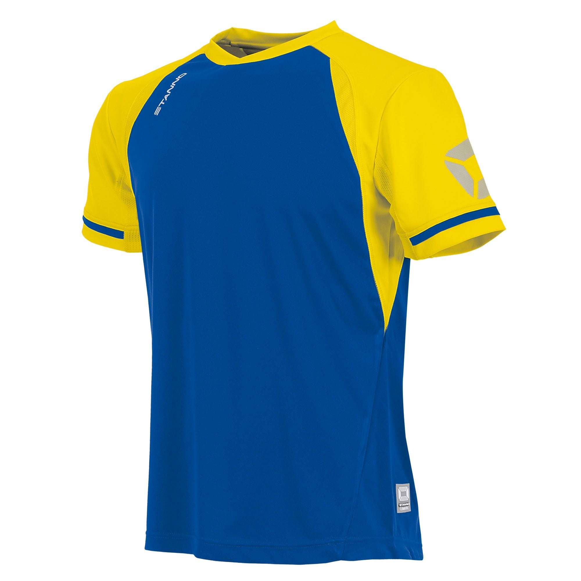 short sleeved Stanno Liga shirt in royal blue with contrast yellow sleeves and collar, Stadium logo on the sleeve.