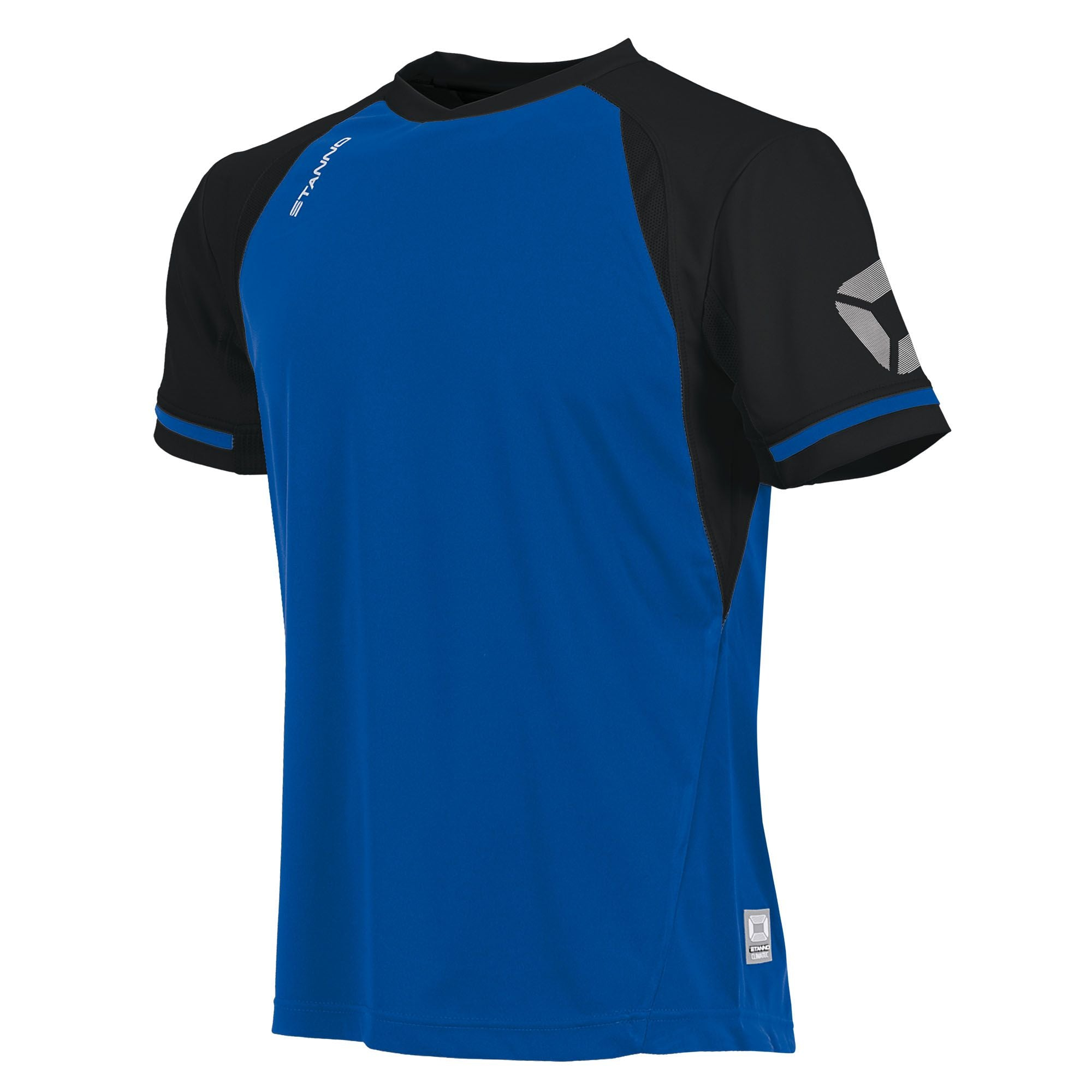 short sleeved Stanno Liga shirt in royal blue with contrast black sleeves and collar, Stadium logo on the sleeve.