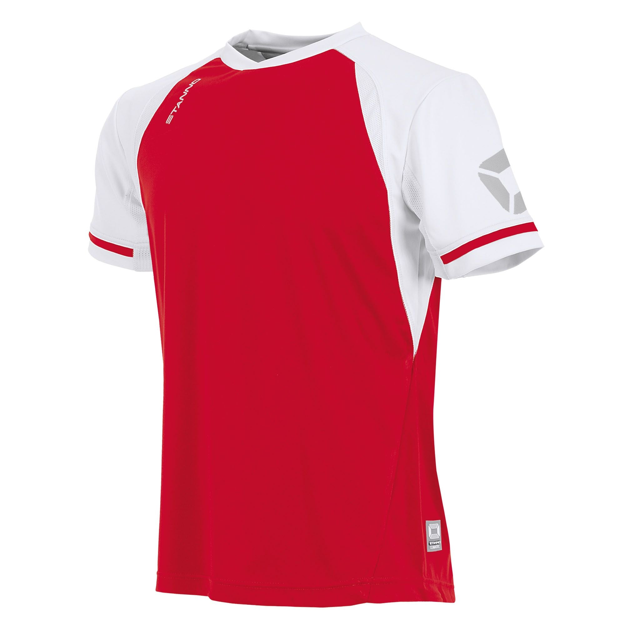 short sleeved Stanno Liga shirt in red with contrast white sleeves and collar, Stadium logo on the sleeve.