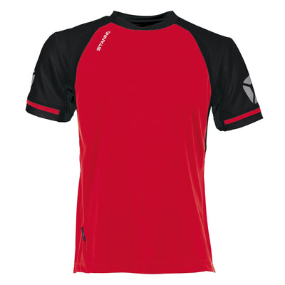 short sleeved Stanno Liga shirt in red with contrast black sleeves and collar, Stadium logo on the sleeve.