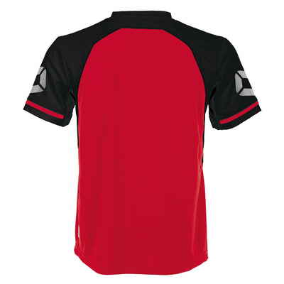 Rear of Stanno Liga short Sleeve shirt in red with contrast black sleeves and collar