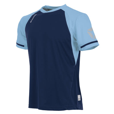 short sleeved Stanno Liga shirt in navy with contrast sky blue sleeves and collar, Stadium logo on the sleeve.