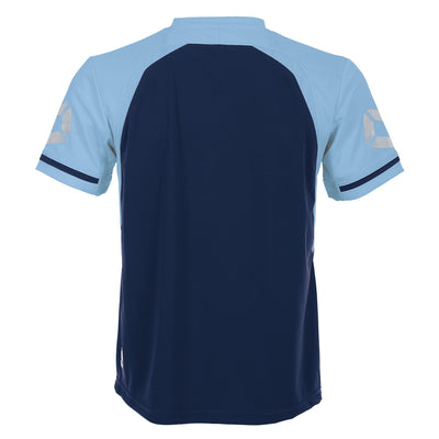 Rear of Stanno Liga short Sleeve shirt in navy with contrast sky blue sleeves and collar