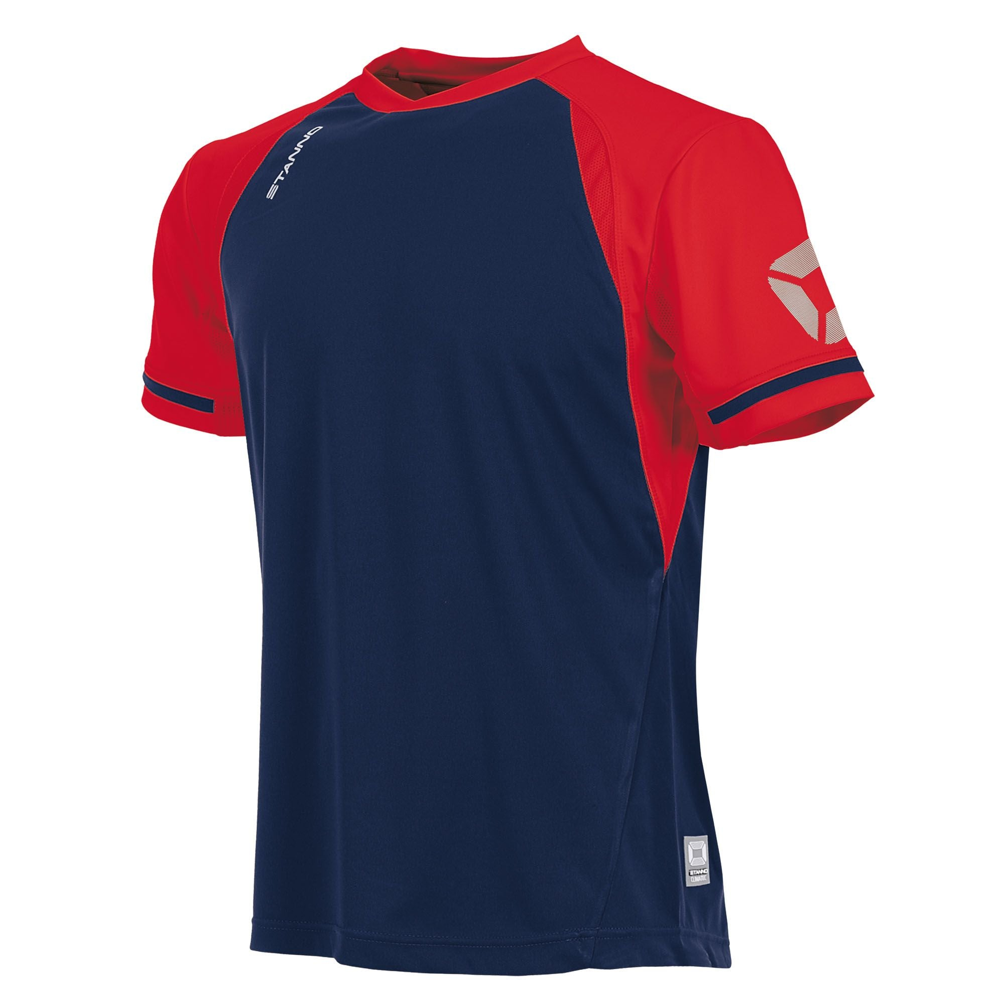 short sleeved Stanno Liga shirt in navy with contrast red sleeves and collar, Stadium logo on the sleeve.