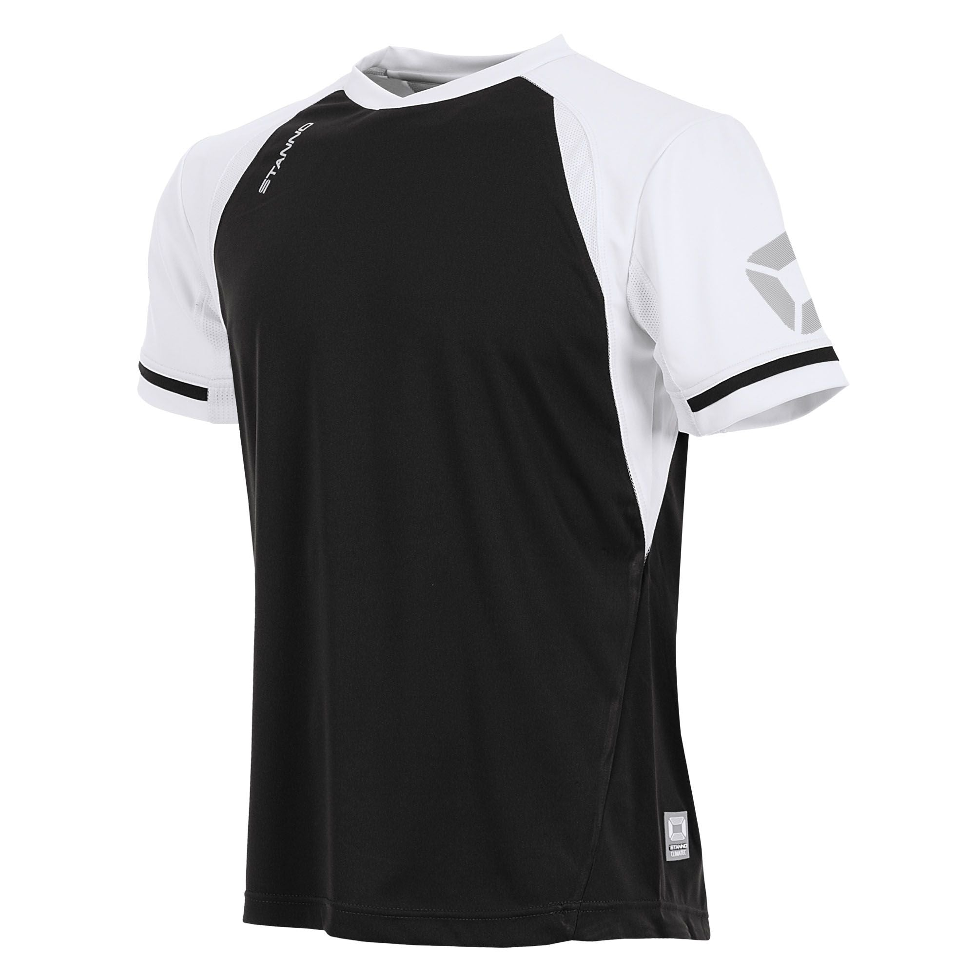 short sleeved Stanno Liga shirt in black with contrast white sleeves and collar, Stadium logo on the sleeve.