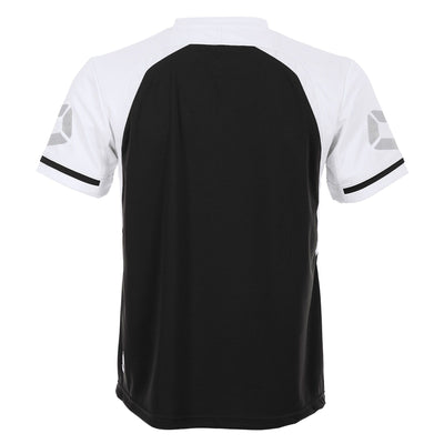 Rear of Stanno Liga short Sleeve shirt in black with contrast white sleeves and collar