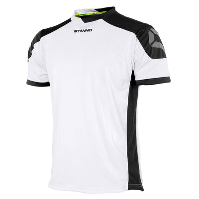 white Stanno campione short sleeved shirt with black contrast shoulders and side panels, and Stanno logo at top of the sleeve.