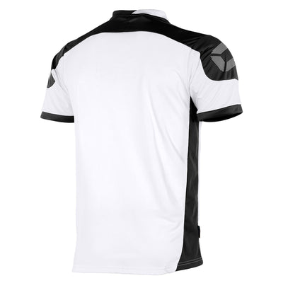 rear of white Stanno campione short sleeved shirt with black contrast shoulders and side panels, and Stanno logo at top of the sleeve.
