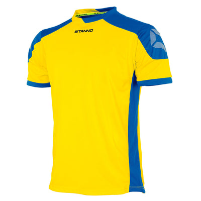 yellow Stanno campione short sleeved shirt with royal blue contrast shoulders and side panels, Stanno logo at top of sleeve.