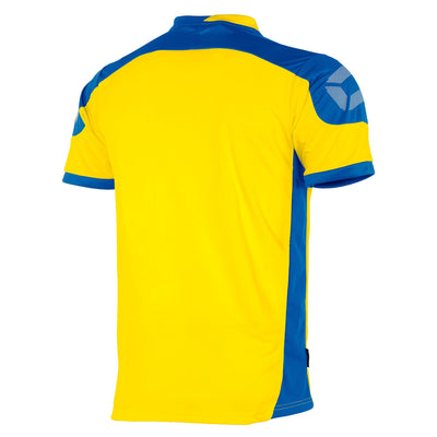 rear of yellow Stanno campione short sleeved shirt with royal blue contrast shoulders and side panels, Stanno logo at top of sleeve.