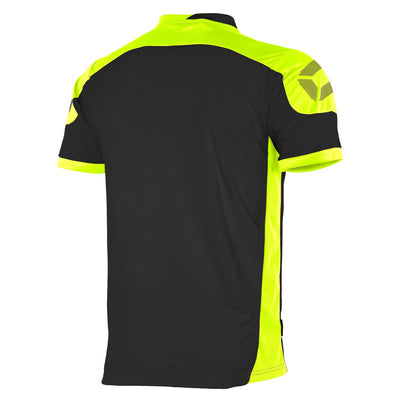 rear of Black Stanno campione short sleeved shirt with yellow contrast shoulders and side panels, and Stanno logo on the top of the sleeve