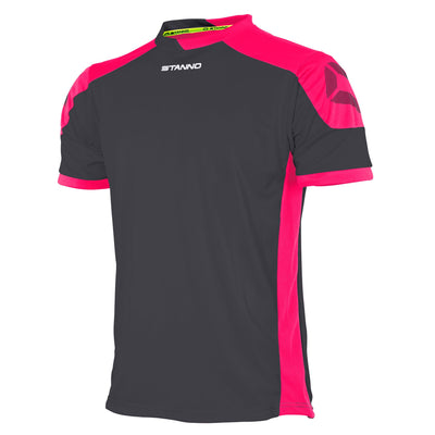 anthracite Stanno campione short sleeved shirt with pink contrast shoulders and side panels, and Stanno logo on the top of the sleeve
