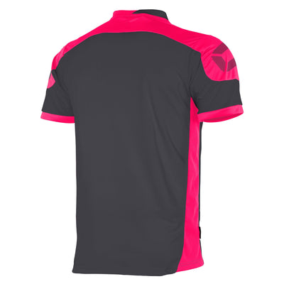 Rear of anthracite Stanno campione short sleeved shirt with pink contrast shoulders and side panels, and Stanno logo on the top of the sleeve