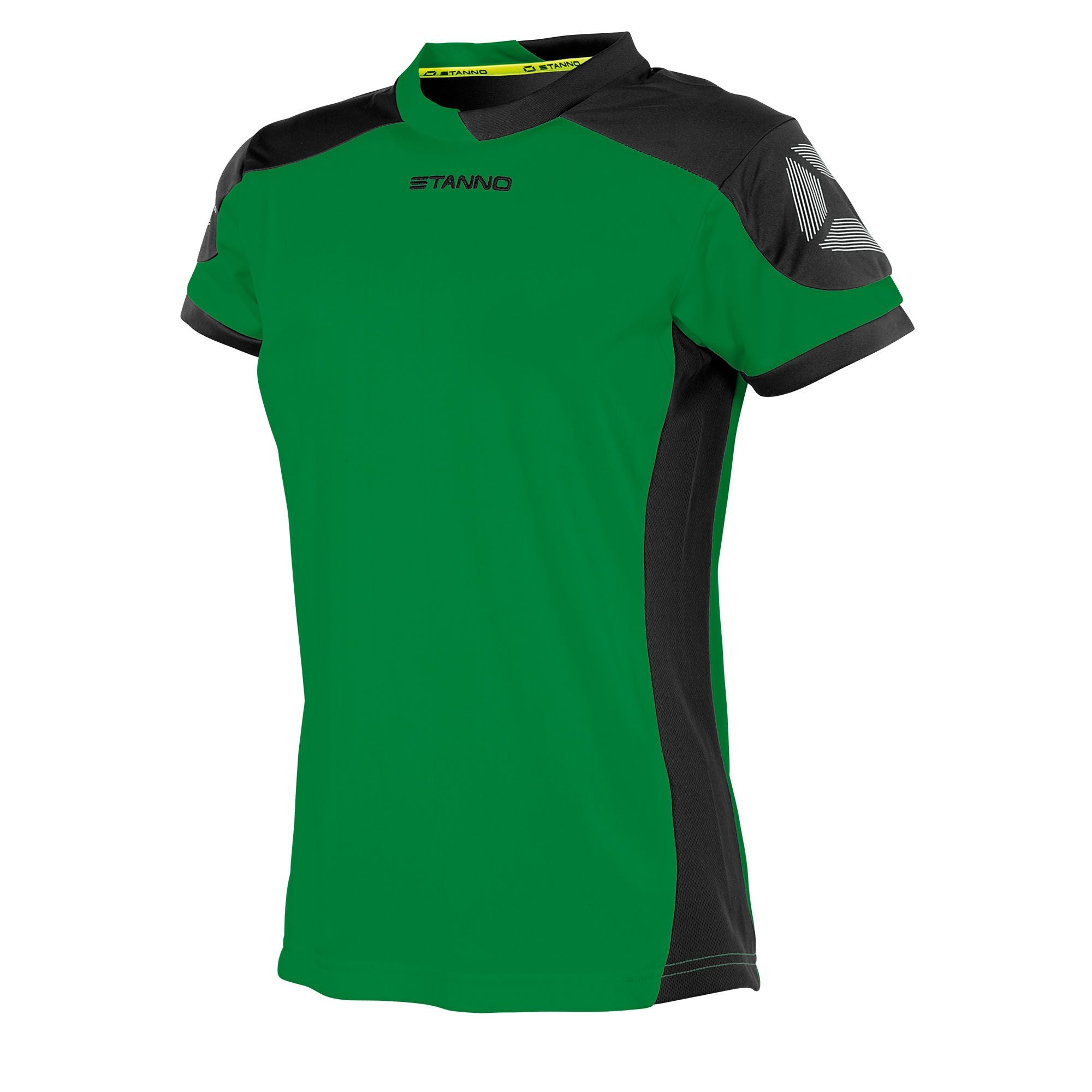 Stanno Campione ladies fit short sleeved shirt in green with contrast black sleeves and side panels