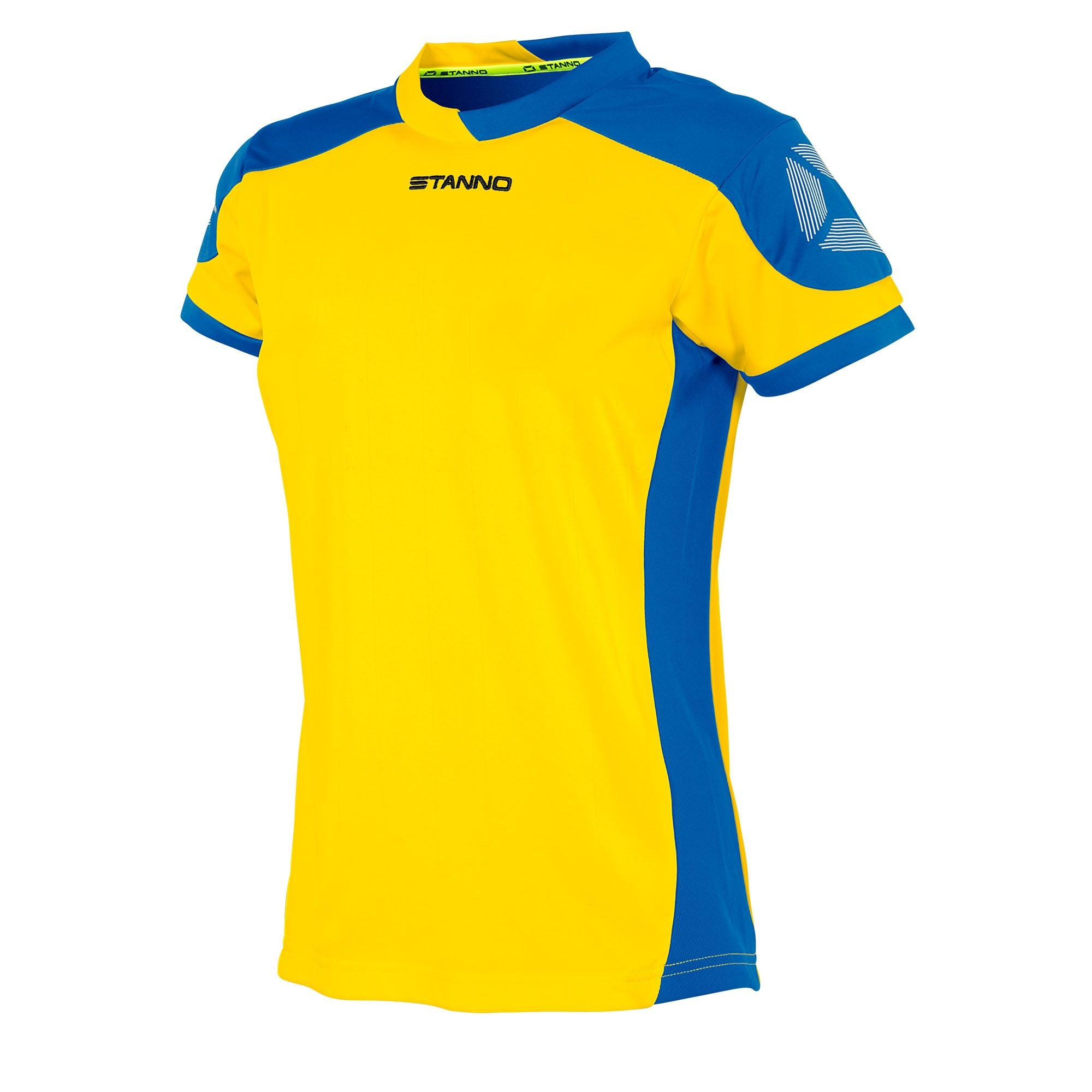 Stanno Campione ladies fit short sleeved shirt in yellow with contrast royal blue sleeves and side panels