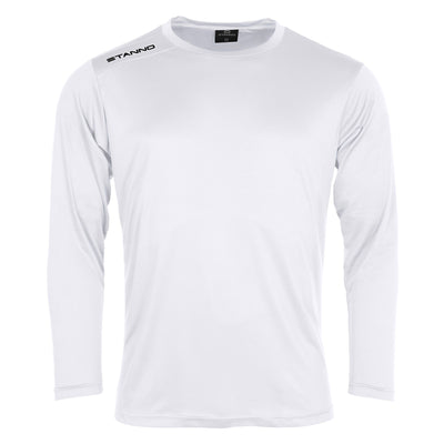 Front of Stanno Field long sleeve shirt in white with black text logo on right shoulder