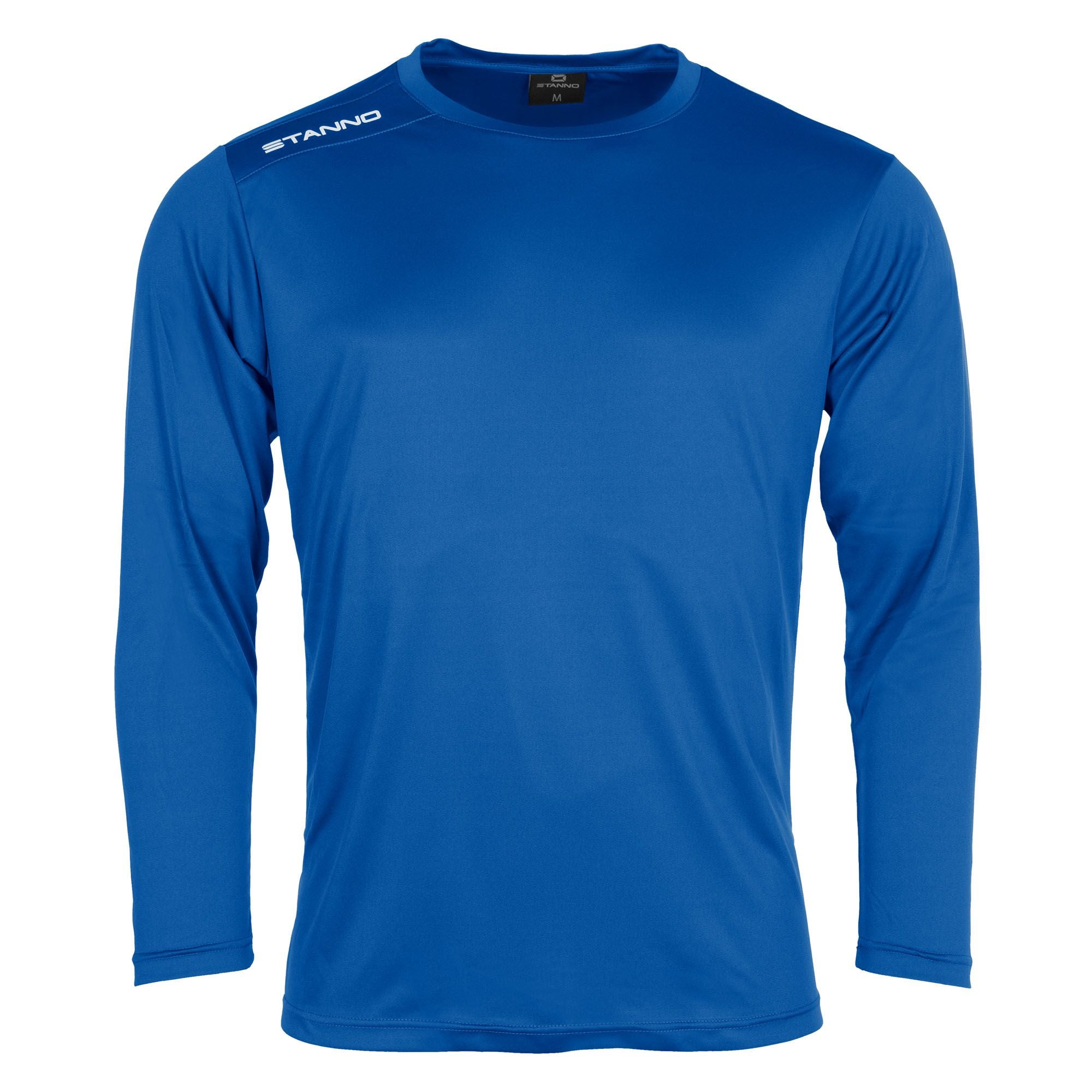 Front of Stanno Field long sleeve shirt in royal blue with white text logo on right shoulder
