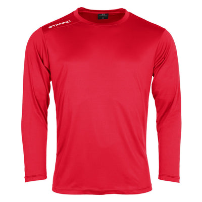 Front of Stanno Field long sleeve shirt in red with white text logo on right shoulder