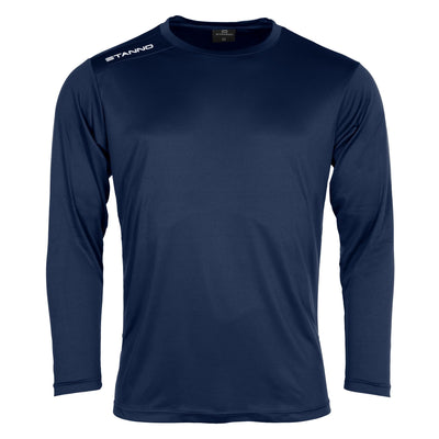 Front of Stanno Field long sleeve shirt in navy with white text logo on right shoulder