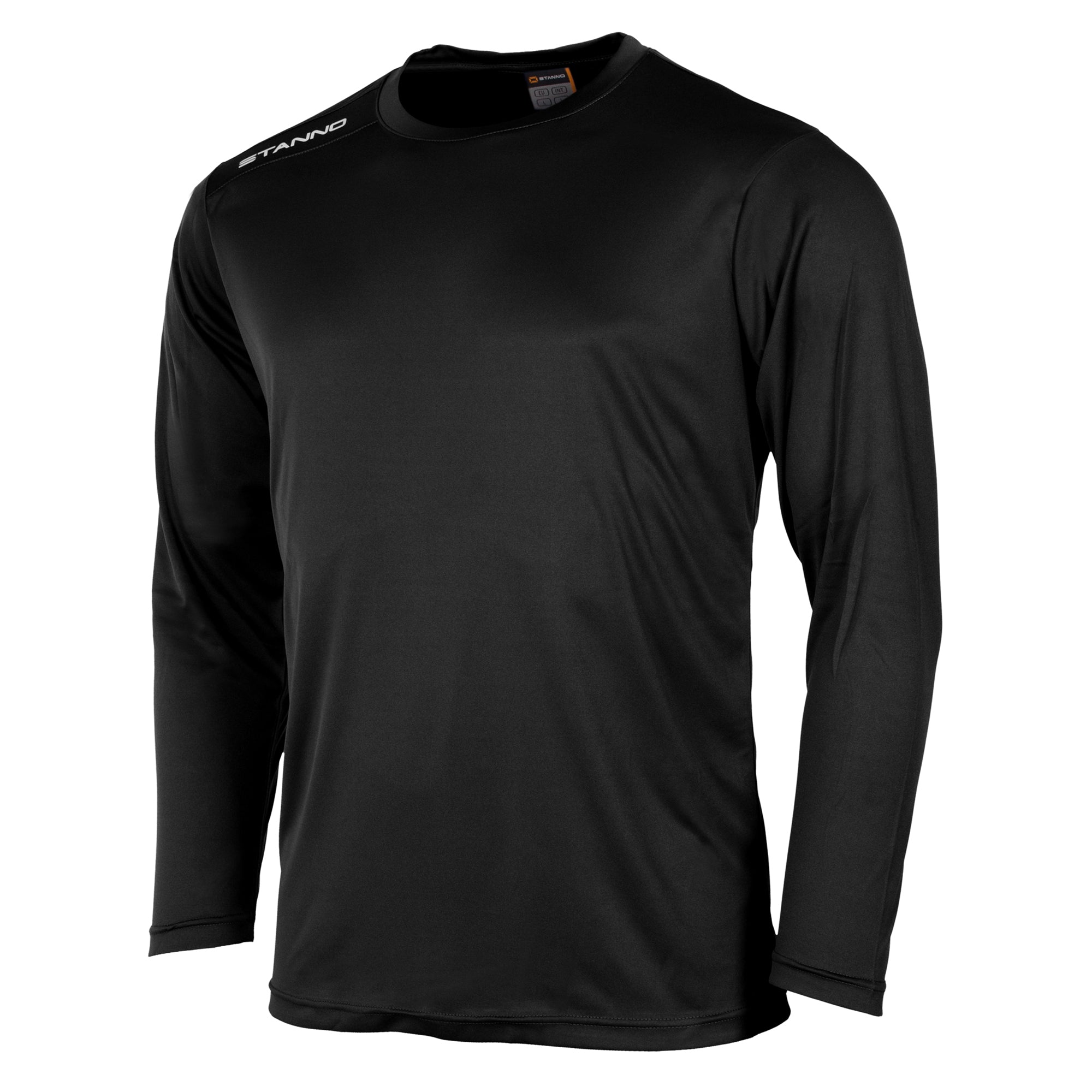 Front of Stanno Field long sleeve shirt in black with white text logo on right shoulder