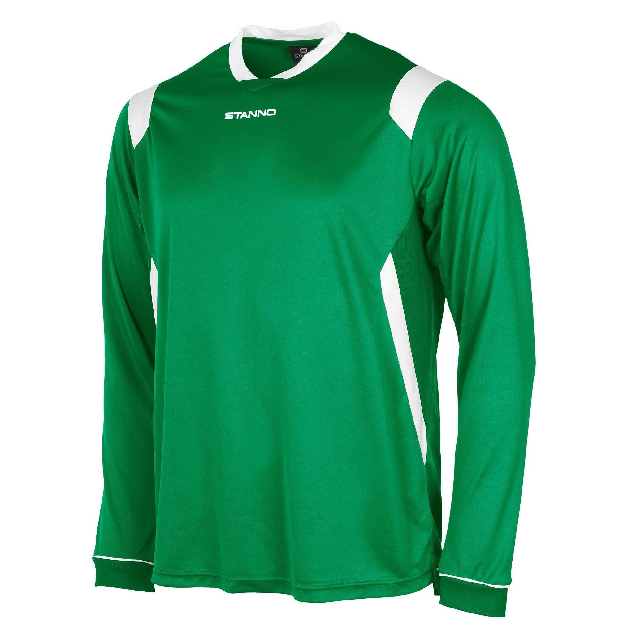 Stanno Arezzo long sleeved shirt in green with white contrast collar, and stripe detail on shoulders and sides.