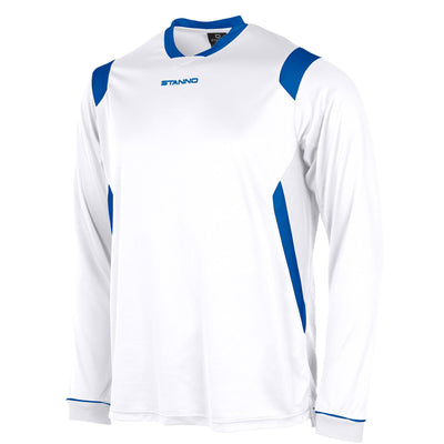 Stanno Arezzo long sleeved shirt in white with royal blue contrast collar, and stripe detail on shoulders and sides.