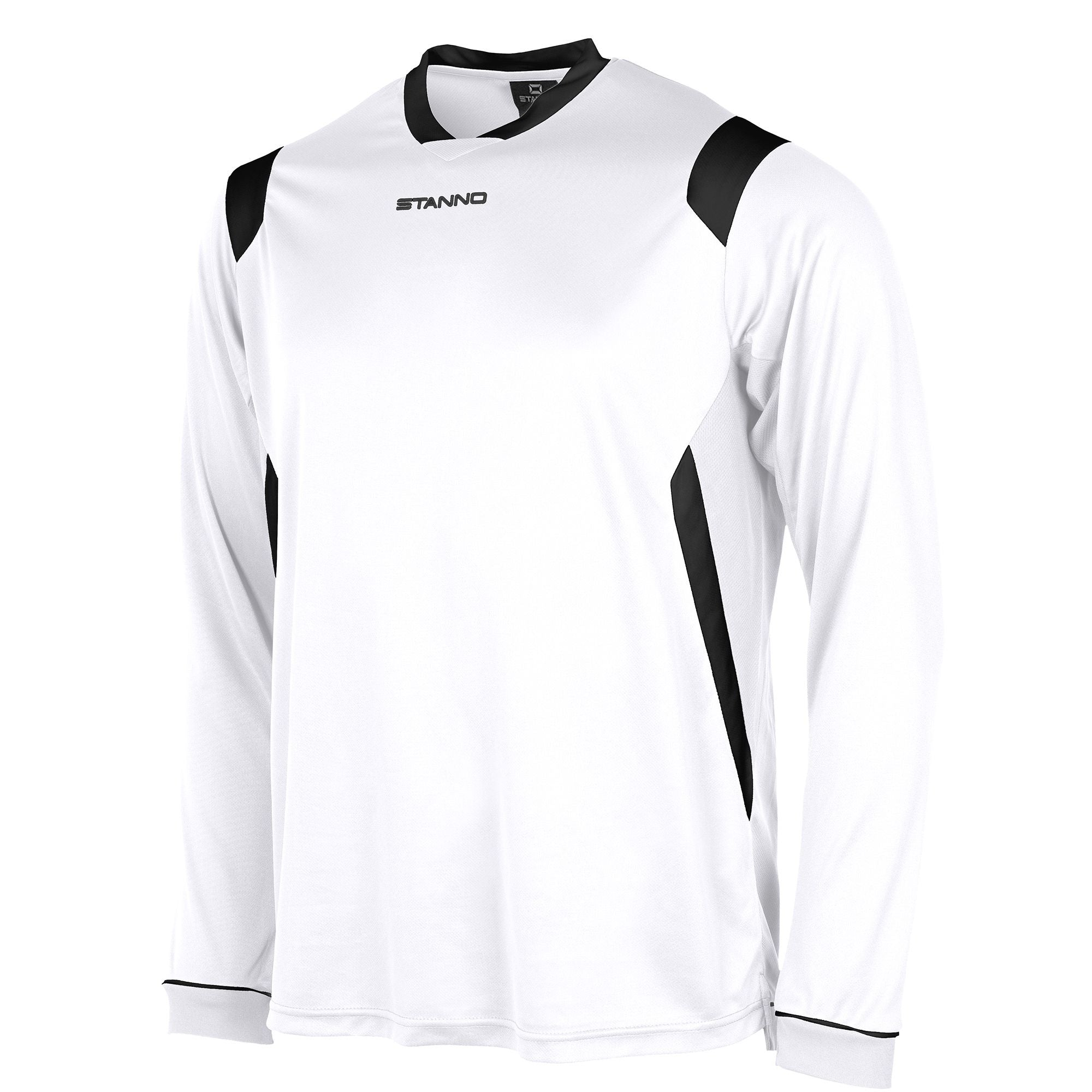 Stanno Arezzo long sleeved shirt in white with black contrast collar, and stripe detail on shoulders and sides.