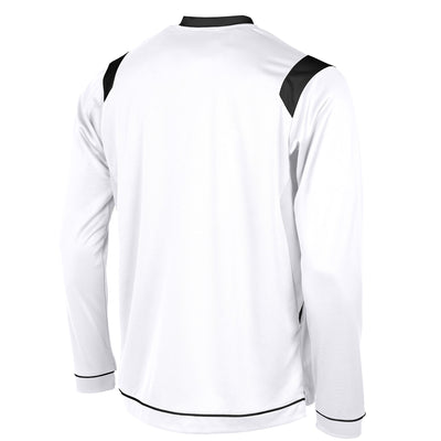 rear of Stanno Arezzo long sleeved shirt in white with black contrast collar, and stripe detail on shoulders and sides.