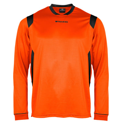 Stanno Arezzo long sleeved shirt in orange with black contrast collar, and stripe detail on shoulders and sides.