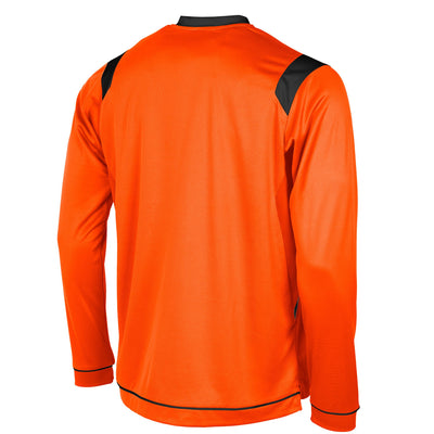 rear of Stanno Arezzo long sleeved shirt in orange with black contrast collar, and stripe detail on shoulders and sides.