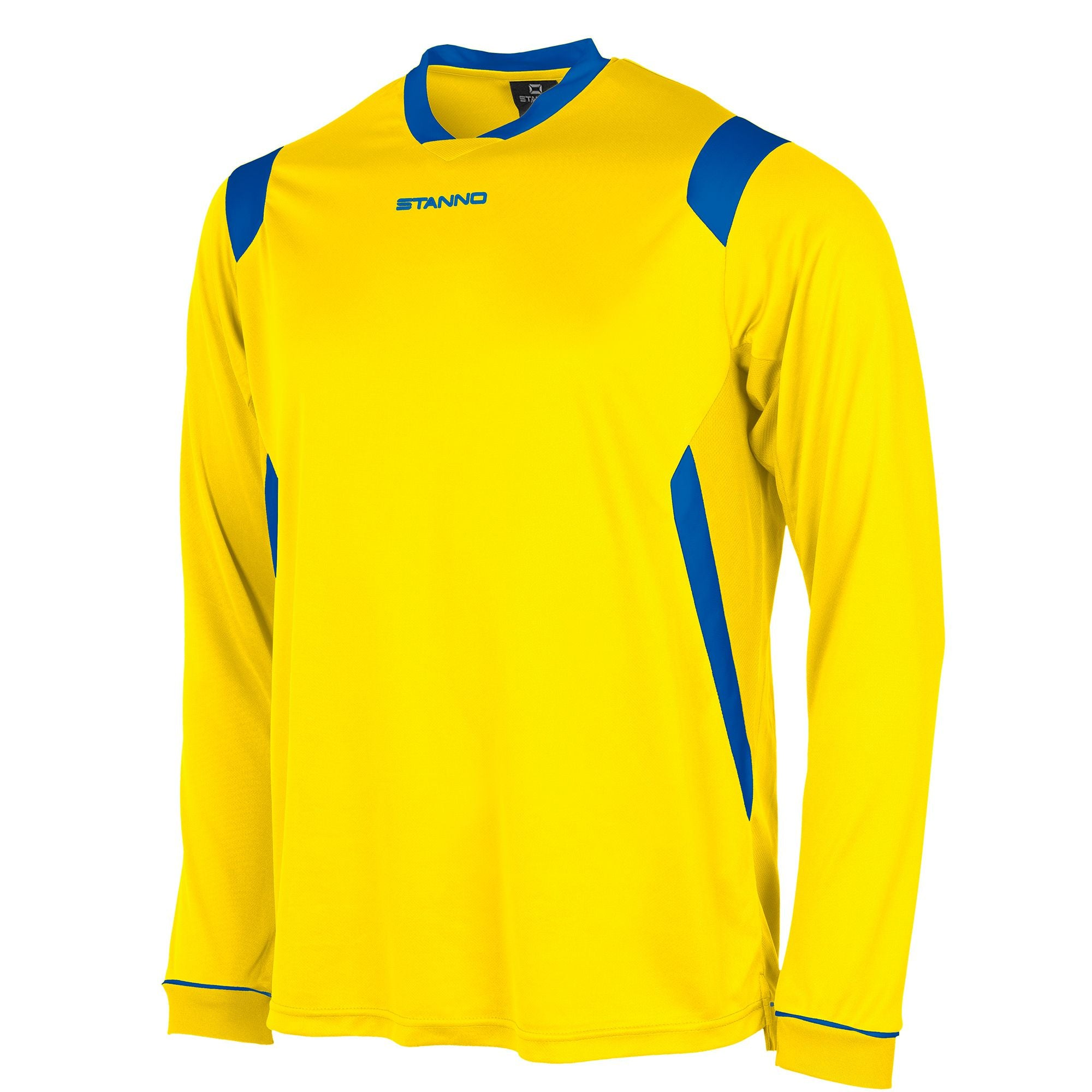 Stanno Arezzo long sleeved shirt in yellow with royal blue contrast collar, and stripe detail on shoulders and sides.