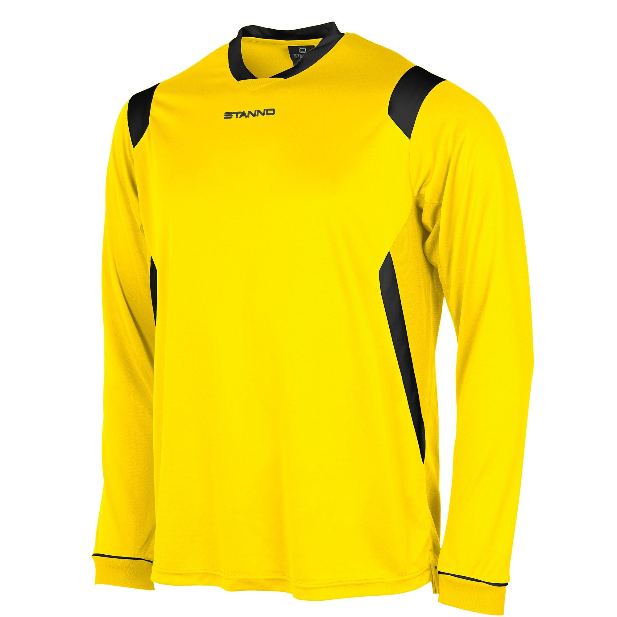 Stanno Arezzo long sleeved shirt in yellow with black contrast collar, and stripe detail on shoulders and sides.