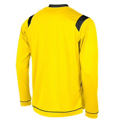 rear of Stanno Arezzo long sleeved shirt in yellow with black contrast collar, and stripe detail on shoulders and sides.