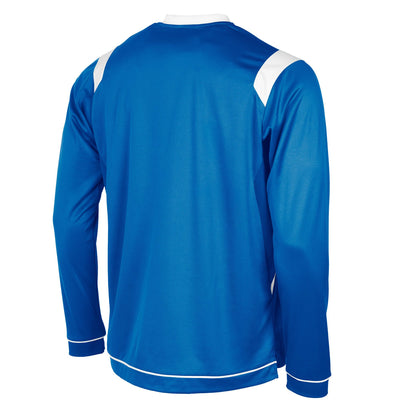 rear of Stanno Arezzo long sleeved shirt in royal blue with white contrast collar, and stripe detail on shoulders and sides.