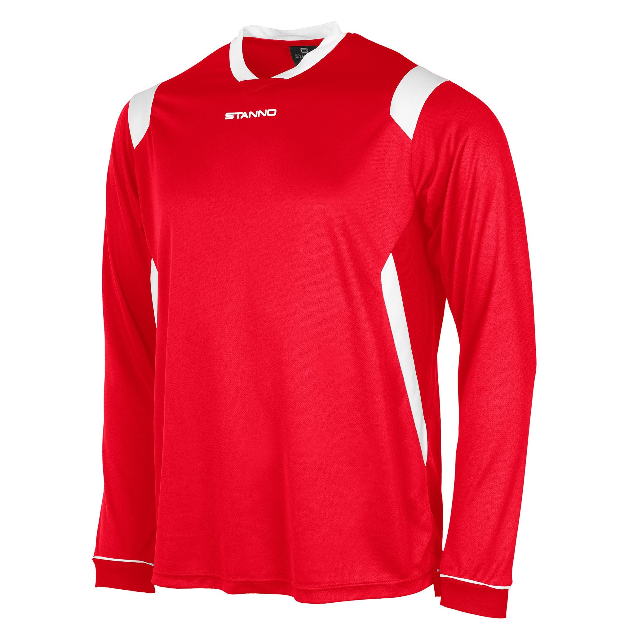 Stanno Arezzo long sleeved shirt in red with white contrast collar, and stripe detail on shoulders and sides.