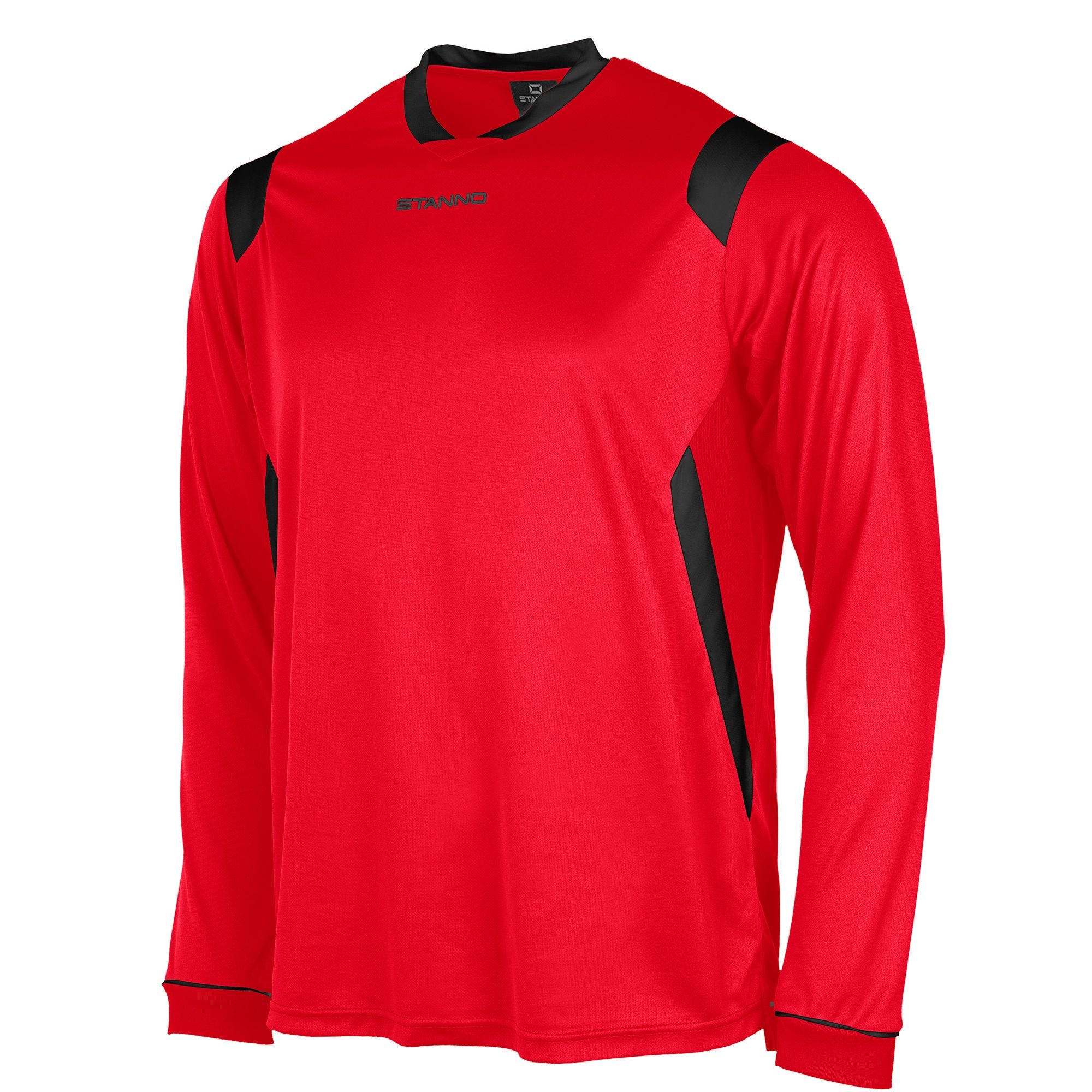 Stanno Arezzo long sleeved shirt in red with black contrast collar, and stripe detail on shoulders and sides.