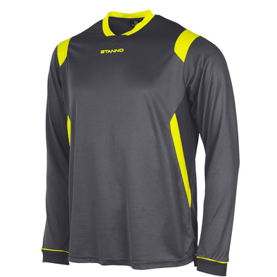 Stanno Arezzo long sleeved shirt in anthracite with neon yellow contrast collar, and stripe detail on shoulders and sides.