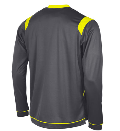 rear of Stanno Arezzo long sleeved shirt in anthracite with neon yellow contrast collar, and stripe detail on shoulders and sides.