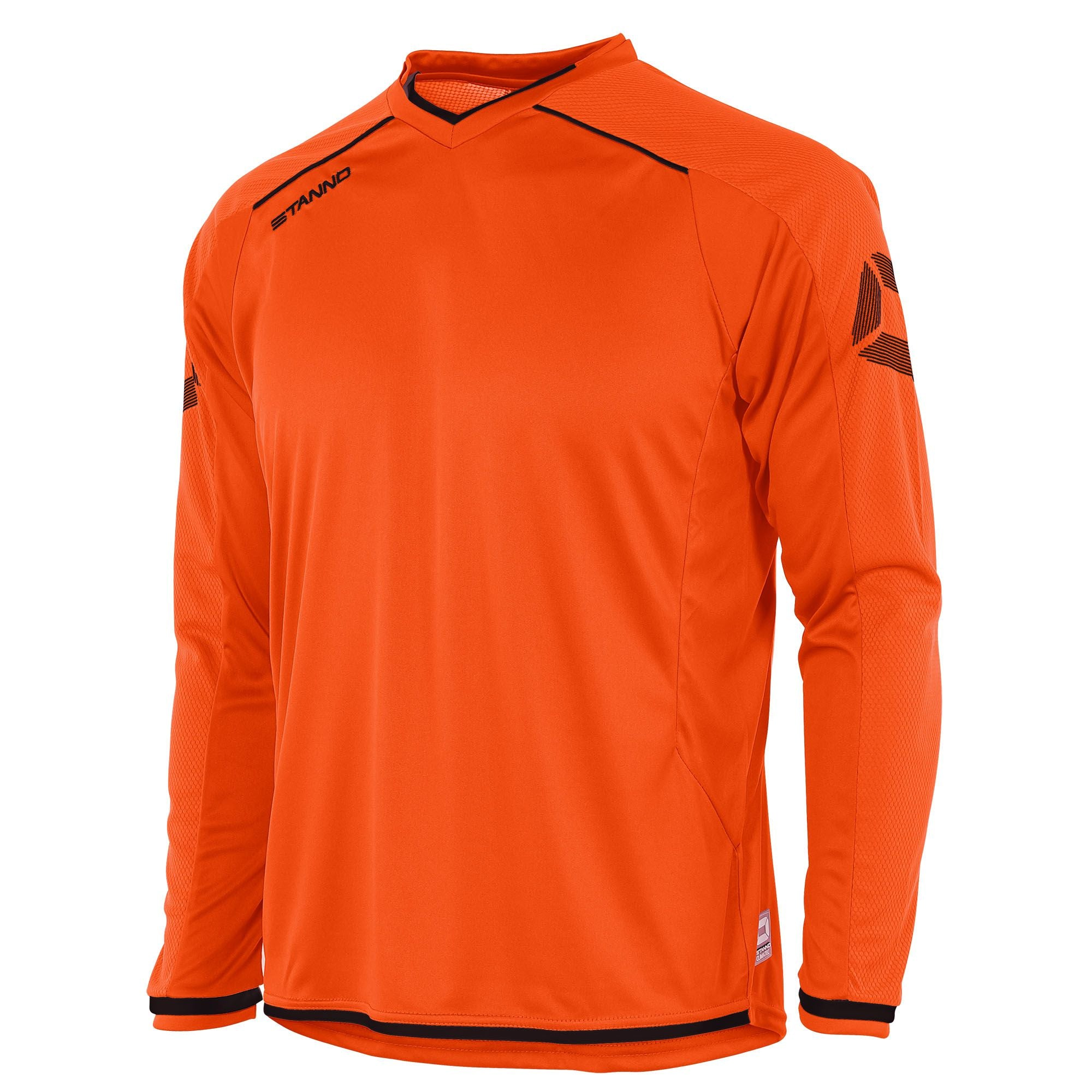 Stanno Futura long sleeve shirt in orange with fine black contrast detailing across the shoulders, collar, cuff and hem.