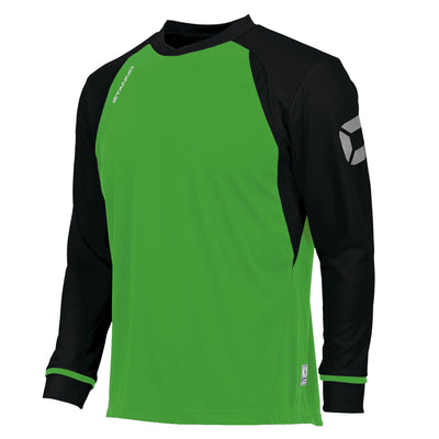 Long sleeved Stanno Liga shirt in bright green with contrast black sleeves and collar, Stadium logo on the sleeve.