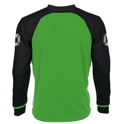 Rear of Stanno Liga Long Sleeve shirt in bright green with contrast black sleeves and collar