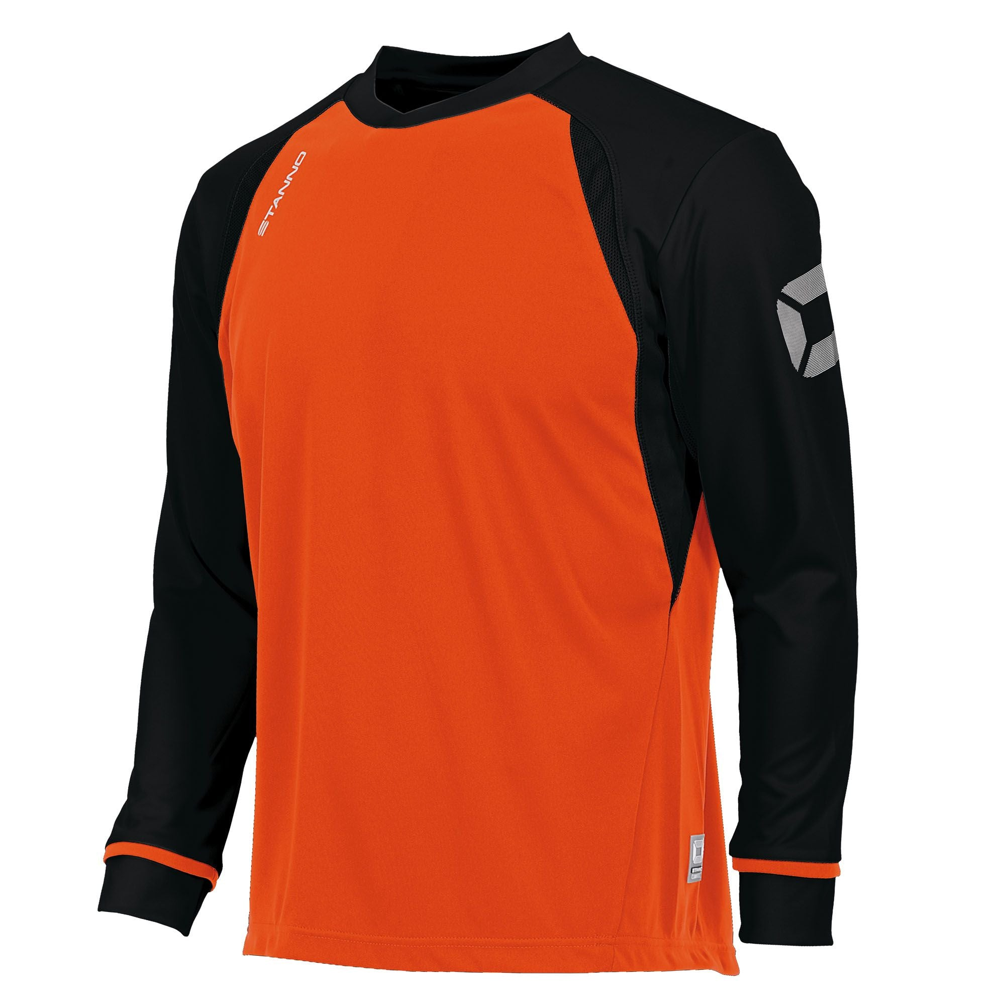 Long sleeved Stanno Liga shirt in orange with contrast black sleeves and collar, Stadium logo on the sleeve.