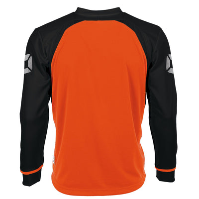 rear of Long sleeved Stanno Liga shirt in orange with contrast black sleeves and collar, Stadium logo on the sleeve.
