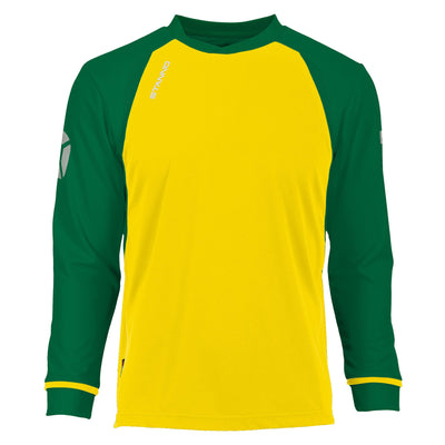 Long sleeved Stanno Liga shirt in yellow with contrast green sleeves and collar, Stadium logo on the sleeve.